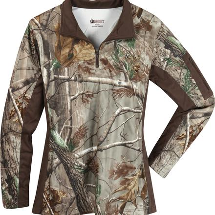 Rocky Women's SilentHunter 1/4 Zip Camo Shirt, , large