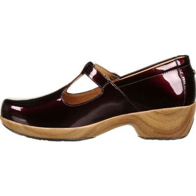 4Eursole Comfort 4Ever Women's Burgundy Patent Leather T-Strap Shoe, , large