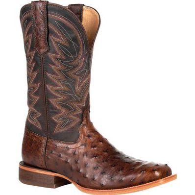 Durango® Premium Exotic Full-Quill Antiqued Saddle Western Boot, , large