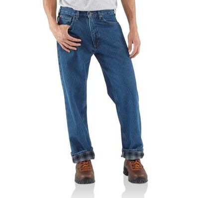 Carhartt Relaxed-Fit Straight-Leg Flannel-Lined Jean, , large