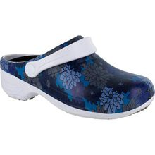 Easy WORKS by Easy Street Time Blue Flowers Women's Slip-Resistant Slip-on Clog