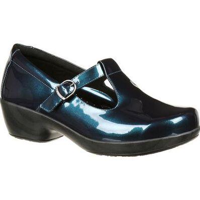 4Eursole Comfort 4Ever Women's Metallic Blue T-Strap Shoe, , large