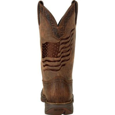Rebel™ by Durango® Brown Distressed Flag Embroidery Western Boot, , large
