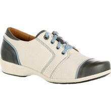 4EurSole Rococo Women's Blue and Cream Low Wedge Lacer Shoe
