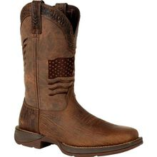 Rebel™ by Durango® Brown Distressed Flag Embroidery Western Boot