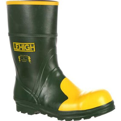 Lehigh Safety Shoes Unisex 12-Inch Steel Toe Dielectric Waterproof Rubber Work Boots, , large