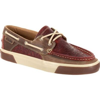 Durango® Music City™ Women's Red Western Embossed Boat Moc, , large