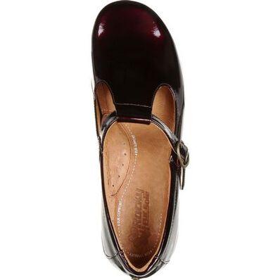 4Eursole Comfort 4Ever Women's Burgundy Patent Leather T-Strap Shoe, , large