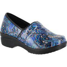 Easy WORKS by Easy Street Lyndee Blue Pop Women's Slip-Resistant Patent Slip-On Work Shoe