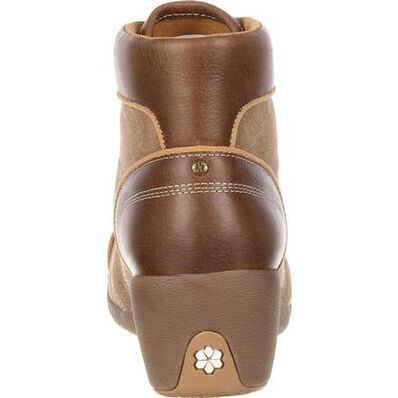 4EurSole Forte Women's Tan High Wedge Lacer Boot, , large
