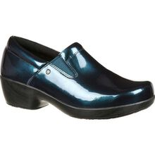 4Eursole Comfort 4Ever Women's Metallic Blue Harbor Patent Leather Slip-On Shoe