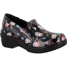Easy WORKS by Easy Street Leeza Festive Skulls Women's Slip-Resistant Patent Slip-On Shoe
