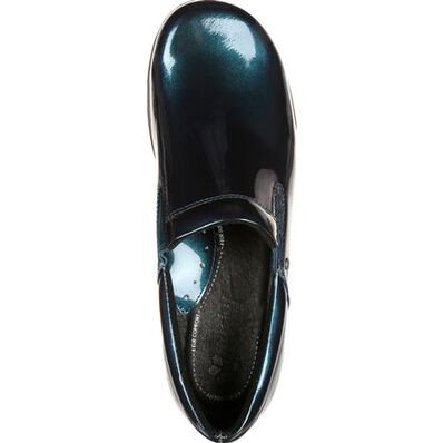 4Eursole Comfort 4Ever Women's Metallic Blue Harbor Patent Leather Slip-On Shoe, , large