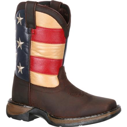 Lil' Rebel by Durango Big Kids' Flag Western Boot, , large