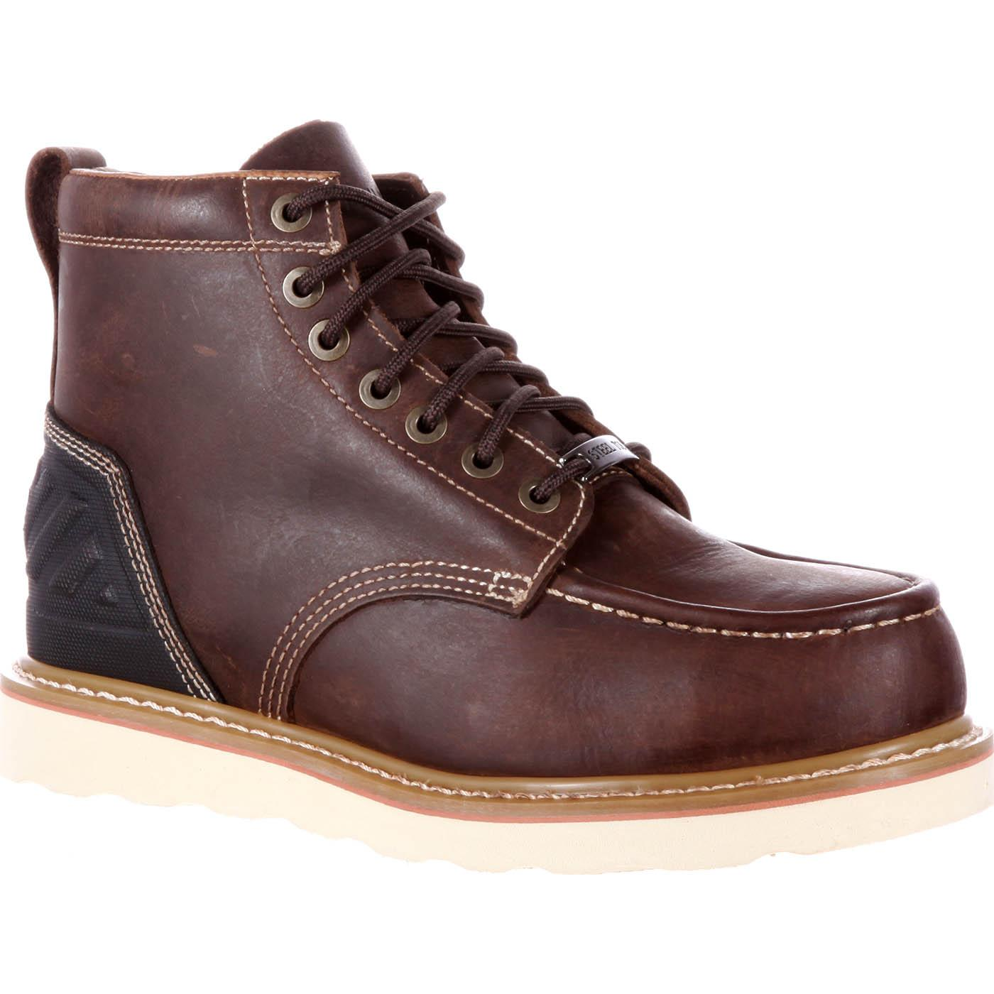 Dark Brown Steel Toe Wedge Work Boots - Stanley Striker