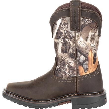 Rocky Big Kids Ride Flex 8 Inch Waterproof Western  Boots Casual   Boots Brown