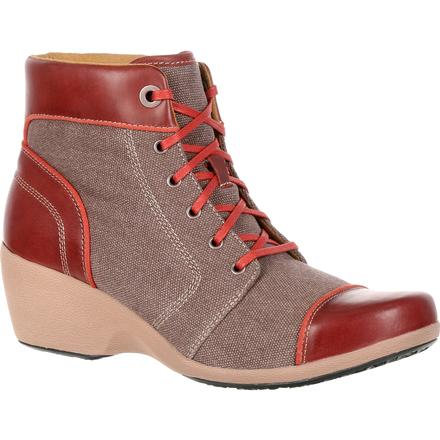 4EurSole Forte Women's Brown Waterproof High Wedge Lacer Boot, , large