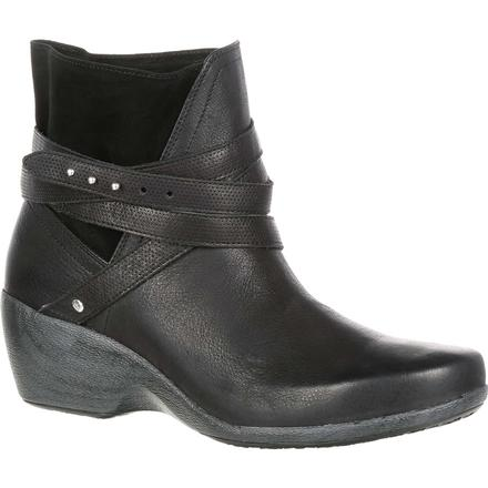 4EurSole Motif Women's Black Wedge Bootie, , large