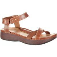 4EurSole Gentle Touch Women's Dusty Chocolate Low Wedge Ankle Strap Sandal, , medium