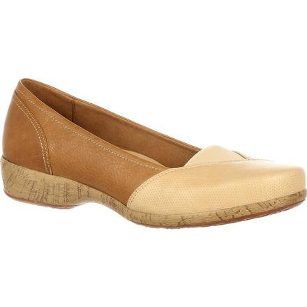 4EurSole Soprano Women's Tan Wheat Low Wedge, , large