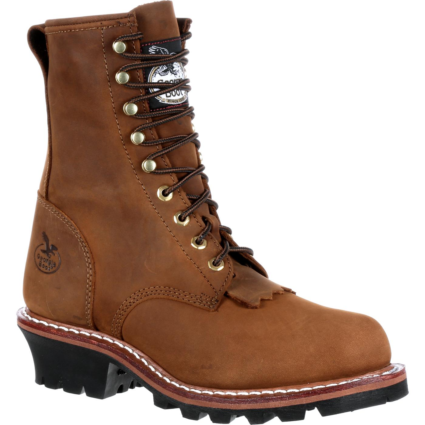 Men S 8 Inch Logger Work Boot By Georgia Boot Gb0015ia