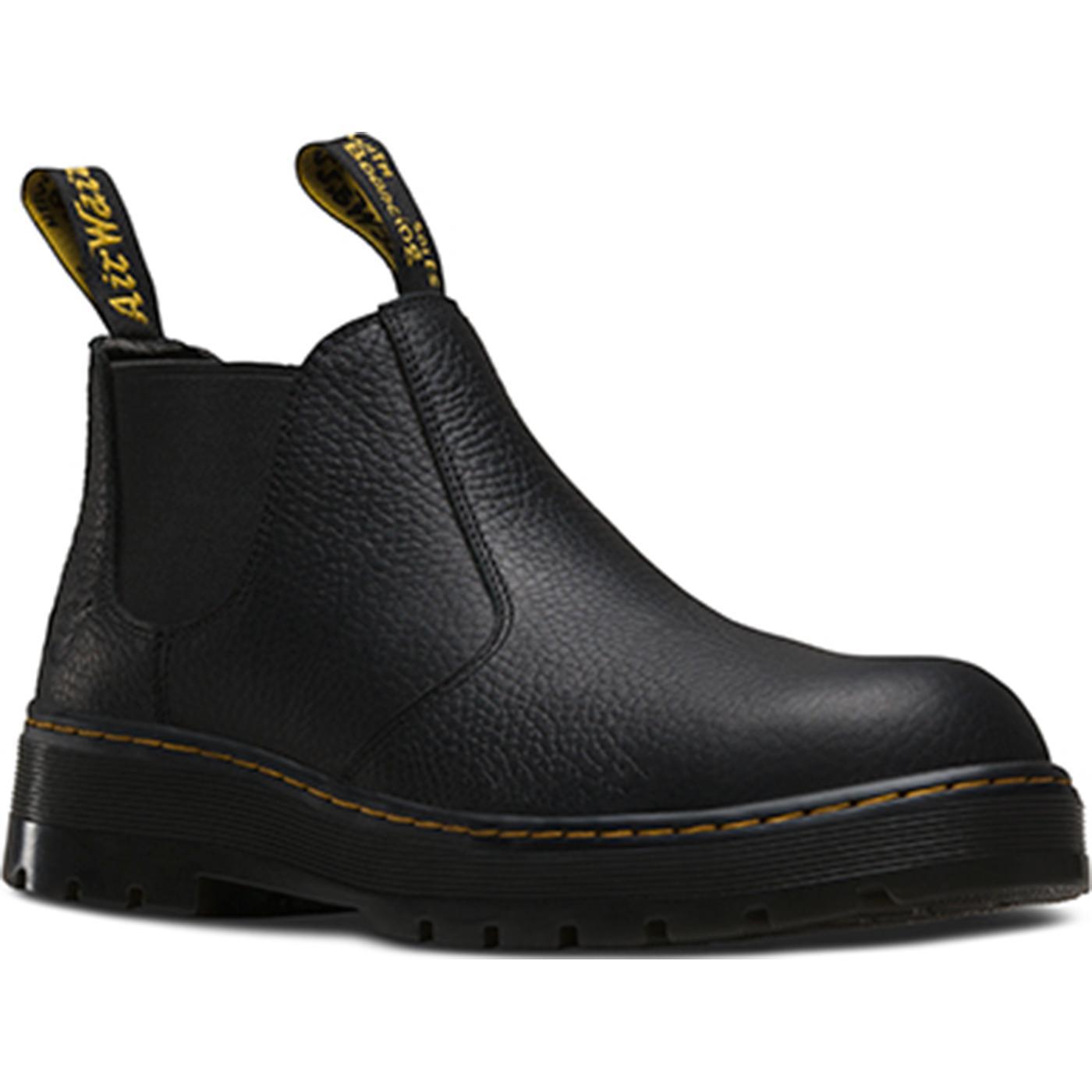 Men S Steel Toe Pull On Black Work Shoe Dr Martens Rivet