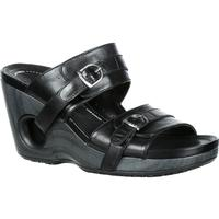 4EurSole Splendor Women's Black Leather Double Strap Slide, , medium
