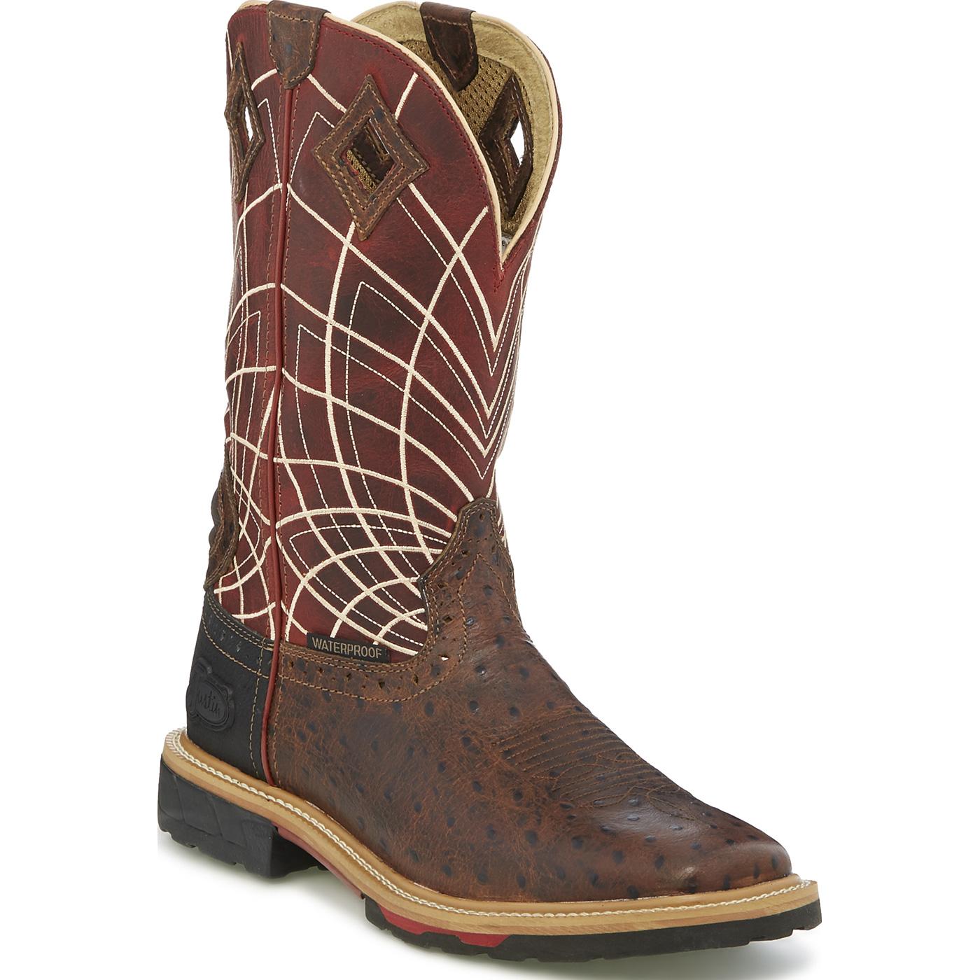 0982e01856c Justin Work Hybred® Derrickman Ostrich Print Men's Composite Toe Electrical  Hazard Waterproof Pull-on Work Boots