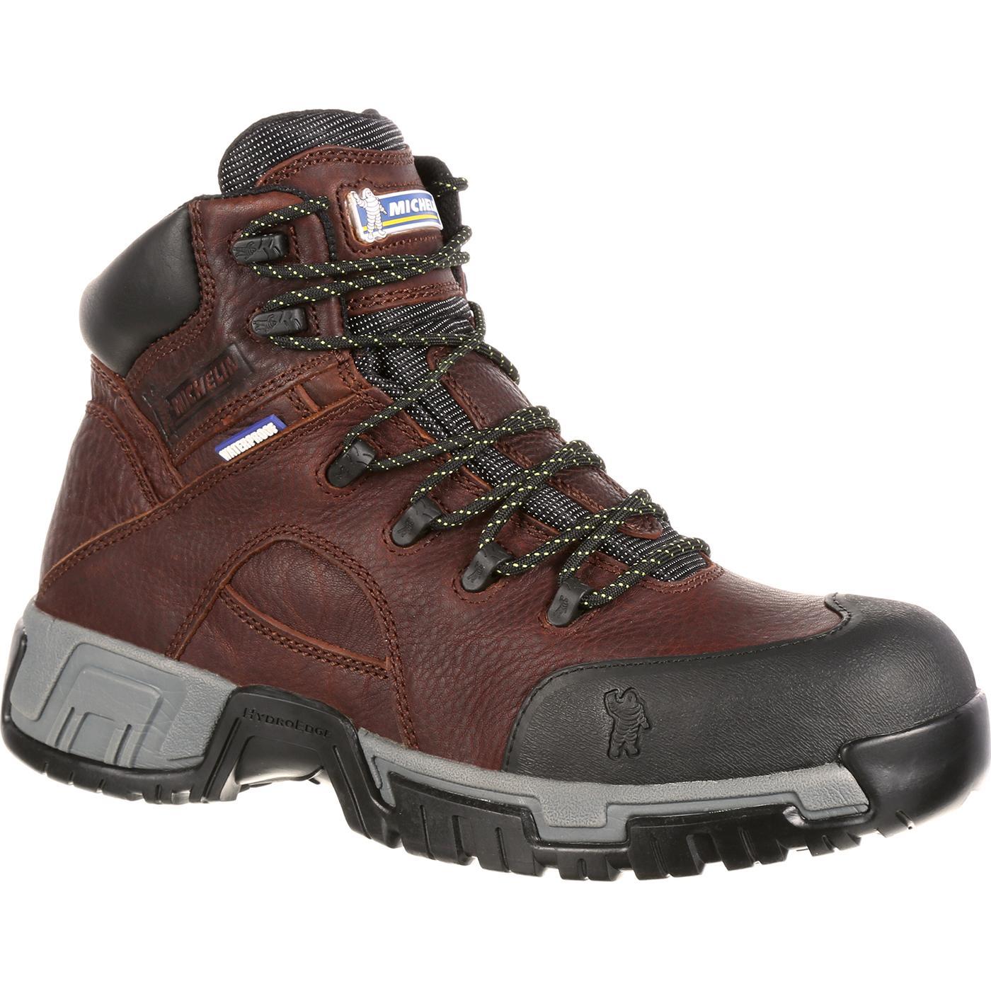 Brown Michelin Waterproof Steel Toe Work Boots