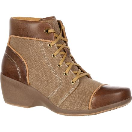 4EurSole Forte Women's Tan High Wedge Lacer Boot