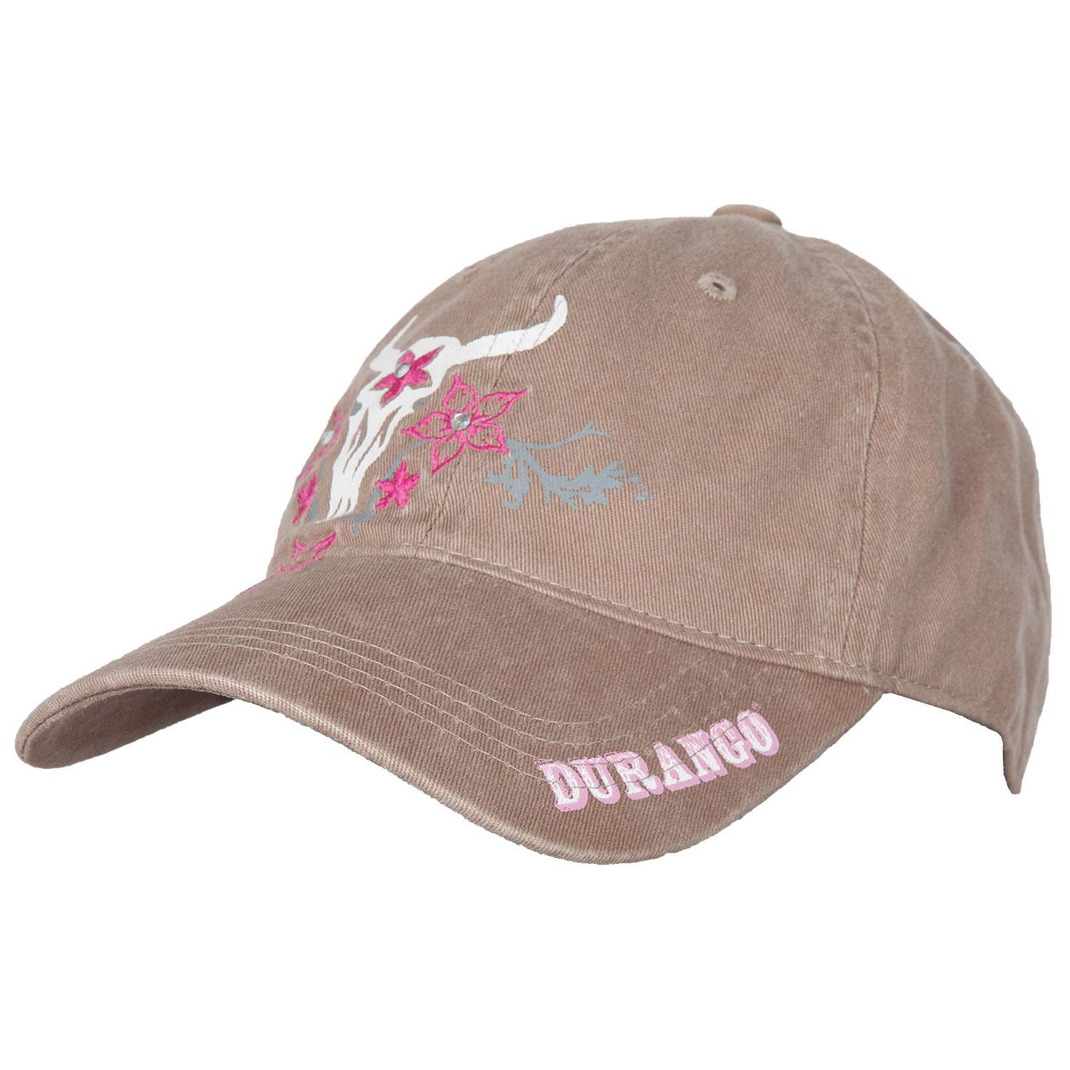 Women s Cow Skull Tan Cap with Flowers 53f2a4104a