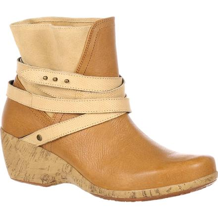 4EurSole Motif Women's Tan Wedge Bootie