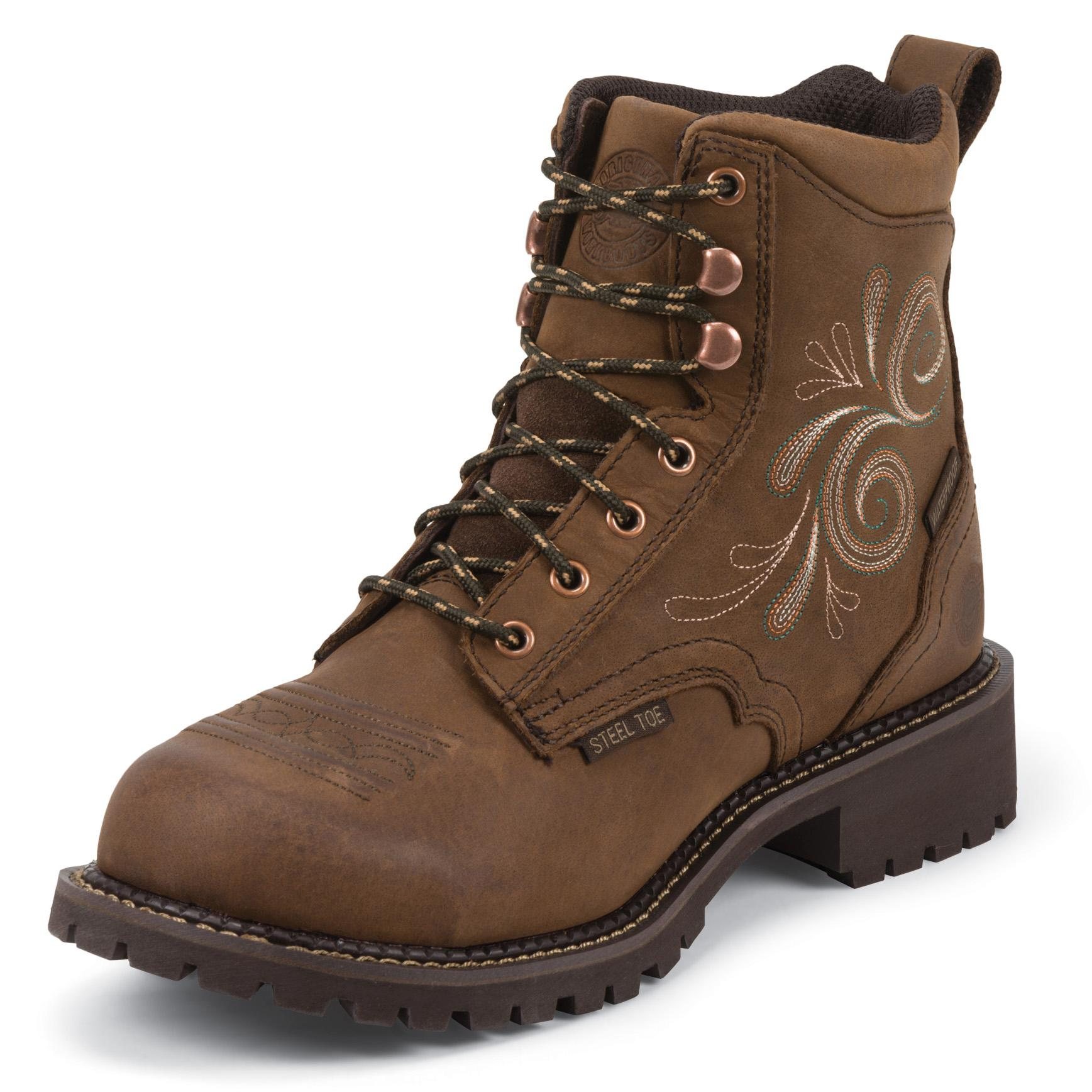 Perfect Justin Womens Tan Jaguar Waterproof Steel Toe Pull On Boot
