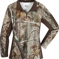 Rocky Women's SilentHunter 1/4 Zip Camo Shirt, Realtree AP, medium