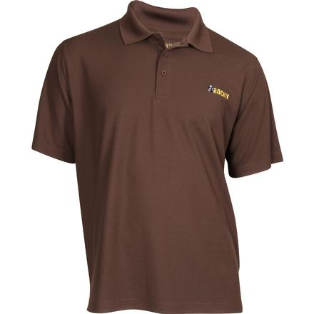 Rocky Logo Short-Sleeve Polo Shirt, BROWN, large