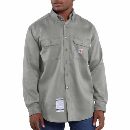 Carhartt Lightweight Flame-Resistant Twill Shirt, Grey, large