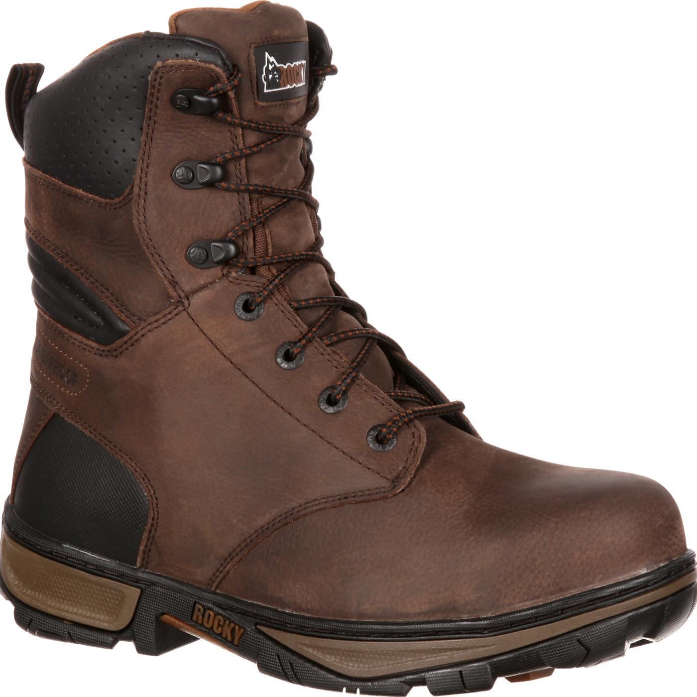s brown steel toe waterproof work boots rocky forge
