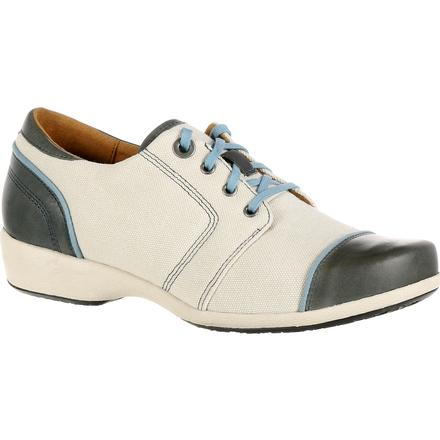 4EurSole Rococo Women's Blue and Cream Low Wedge Lacer Shoe, , large