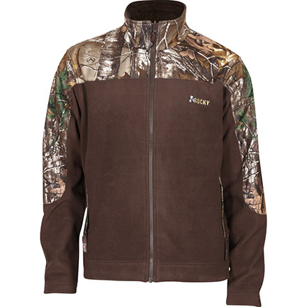 Rocky SilentHunter Fleece Jacket, Brown w/RLTRE XTRA, large