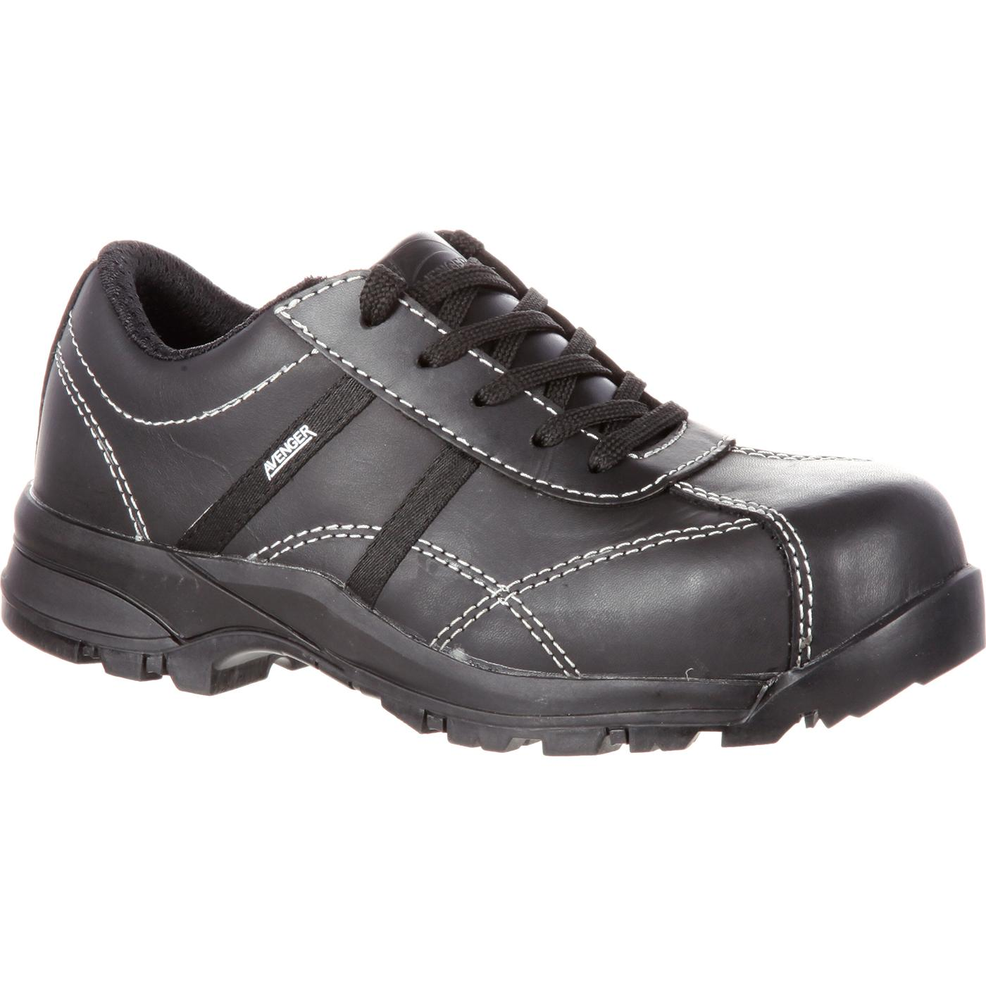 Avenger Women s Composite Toe Black Leather Work Shoe 32e526c93c