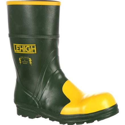 Lehigh Safety Shoes Unisex Steel Toe Rubber Hydroshock Waterproof Dielectric Work Boot, , large