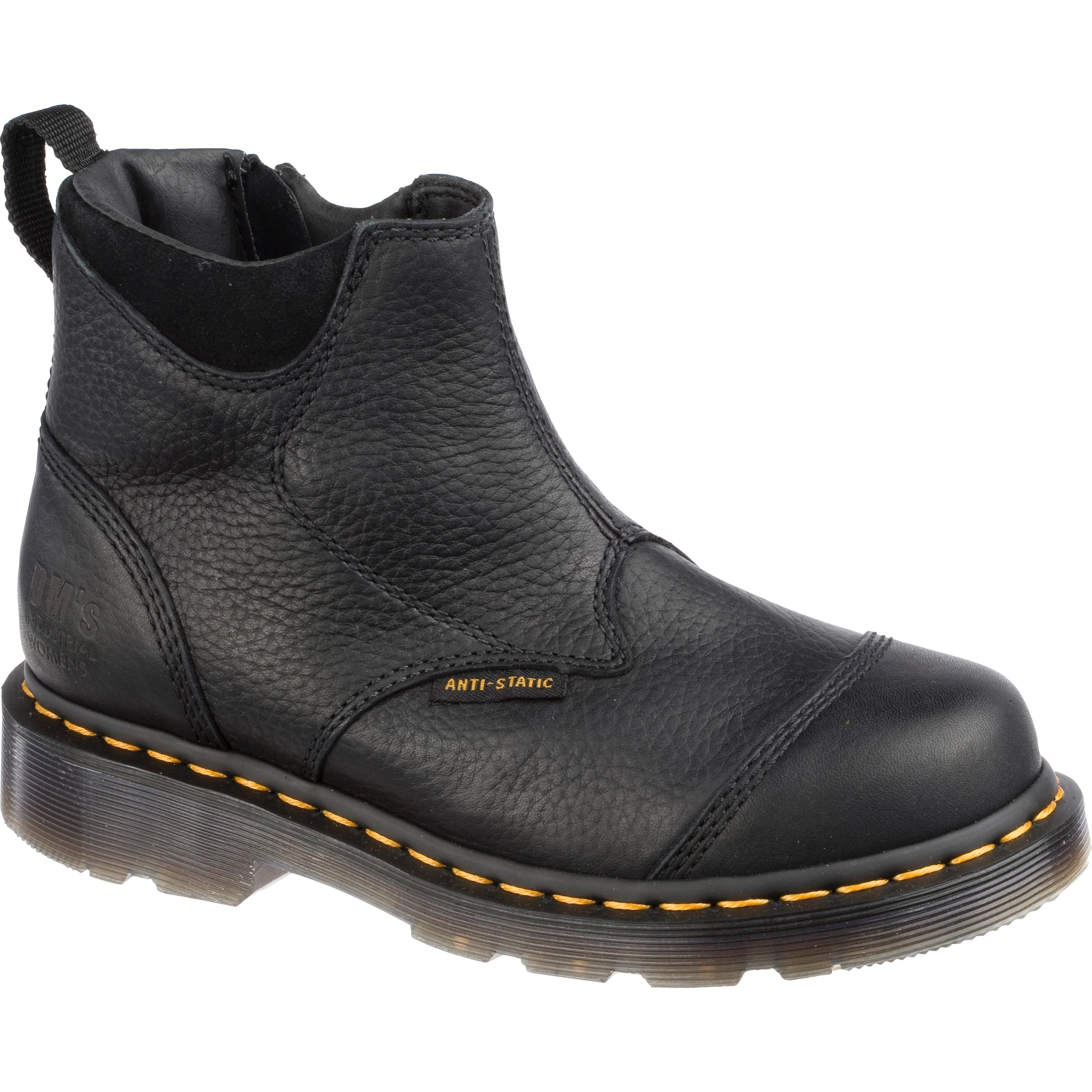 dr marten steel toe slip on boots