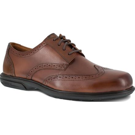 Florsheim Work Loedin Men's Steel Toe Static-Dissipative Brown Leather Dress Oxford, , large
