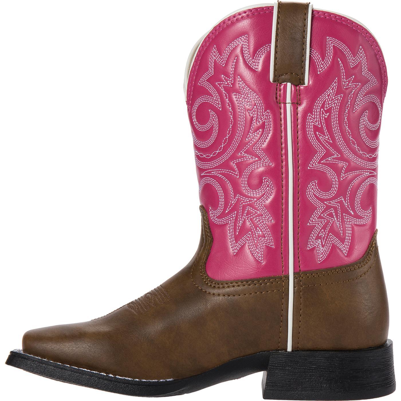 kid pink and brown western boot lil durango bt217